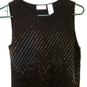 Beautiful Black Beaded Silk Top
